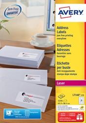 Avery etiketten QuickPEEL  ft 63,5 x 38,1 mm (b x h), 5.250 stuks, 21 per blad