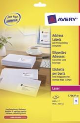 Avery Witte laseretiketten QuickPeel  doos van 40 blad, ft 99,1 x 33,9 mm (b x h), 640 stuks, 16 per blad