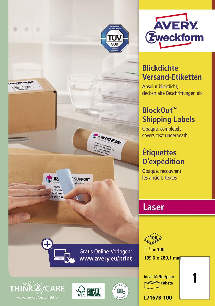 Avery L7167B-100 BlockOut zelfklevende etiketten QuickPeel, ft 199,6 x 289,1 mm (b x h), 100 etikett