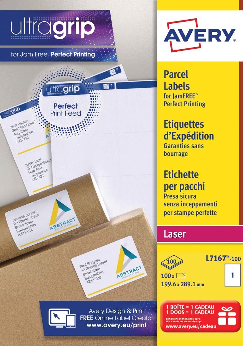 Avery witte laseretiketten QuickPeel doos van 100 blad ft 199,6 x 289,1 mm (b x h), 100 stuks, 1 per