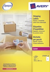 Avery witte laseretiketten QuickPeel doos van 100 blad ft 199,6 x 289,1 mm (b x h), 100 stuks, 1 per blad