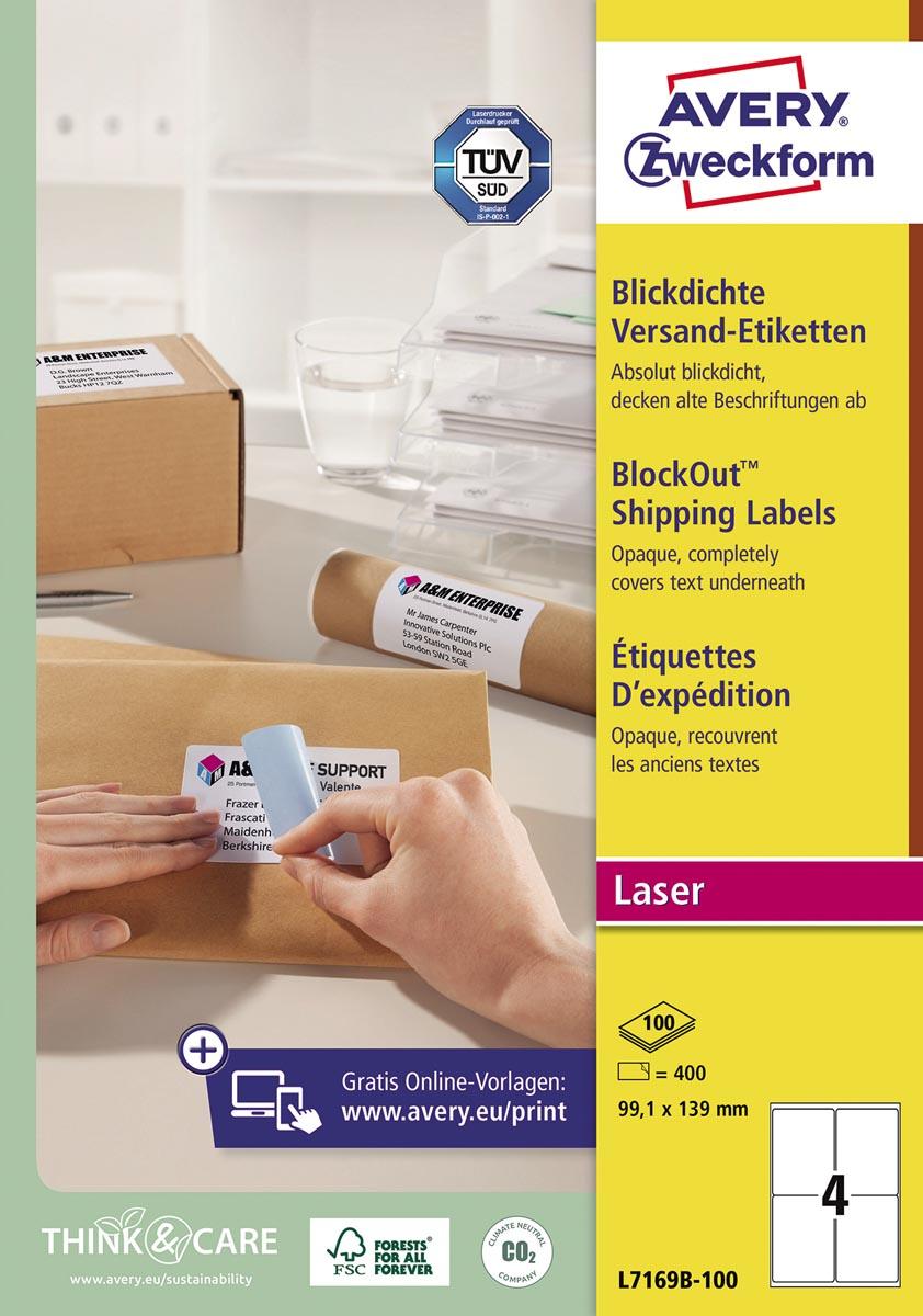 Avery L7169B-100 BlockOut zelfklevende etiketten QuickPeel, ft 99,1 x 139 mm (b x h), 400 etiketten