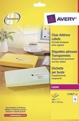 Avery transparante etiketten QuickPEEL ft 99,1 x 33,9 mm (b x h), 400 stuks, 16 per blad