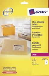 Avery transparante etiketten QuickPEEL  ft 210 x 297 mm (b x h), 25 stuks, 1 per blad