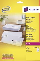 Avery Witte laseretiketten QuickPeel  ft 38,1 x 21,2 mm (b x h), 1.625 stuks, doos van 25 blad