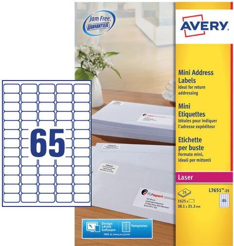 Avery L7651-25 mini adresetiketten ft 38,1 x 21,2 mm (b x h), 1.625 etiketten, wit