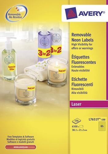 Avery afneembare neon etiketten ft 38,1 x 21,2 mm (b x h), doos van 100 blad, 6500 stuks, neongeel