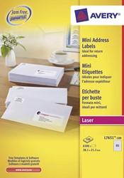 Avery witte laseretiketten QuickPeel doos van 100 blad ft 38,1 x 21,2 mm (b x h), 6500 stuks, 65 per blad