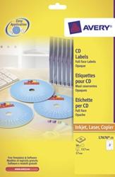 Avery Full size laser etiketten voor CD/DVD 50 stuks, doos van 25 blad
