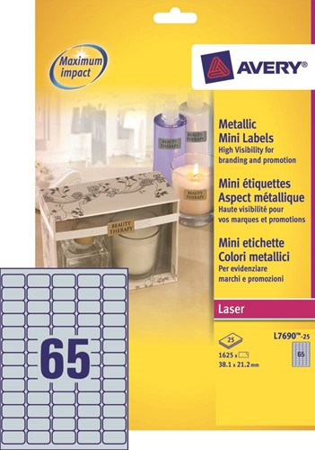 Avery etiketten ft 38,1 x 21,2 mm (b x h), metallic, pak van 1625 etiketten