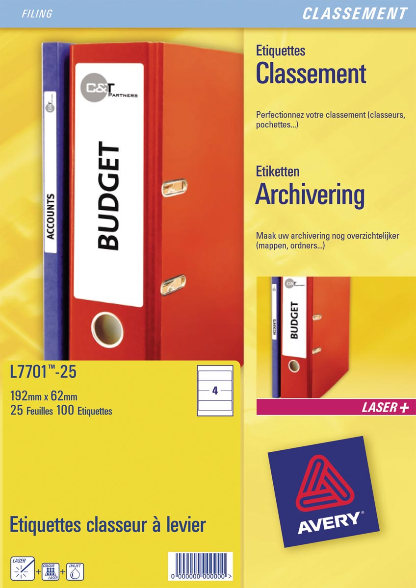 Avery Zweckform L7701-25 ordnerrugetiketten ft 19,2 x 6,2 cm (b x h), 100 etiketten, wit
