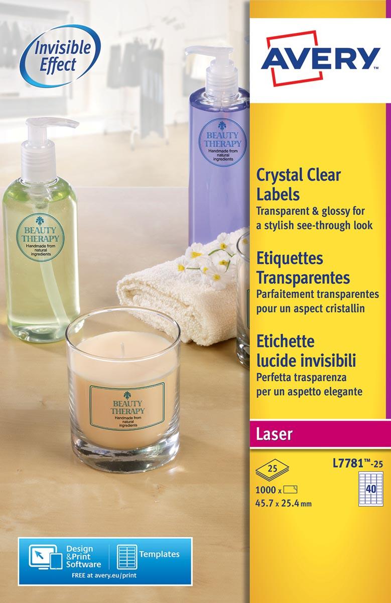 Avery transparante Crystal Clear etiketten ft 45,7 x 25,4 mm, 1000 stuks, 40 per vel