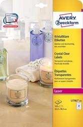 Avery transparante Crystal Clear etiketten ft 63,5 x 38,1 mm, 525 etiketten, 21 per blad