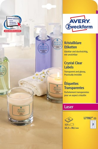 Avery transparante Crystal Clear etiketten ft 63,5 x 38,1 mm, 525 etiketten, 21 per vel