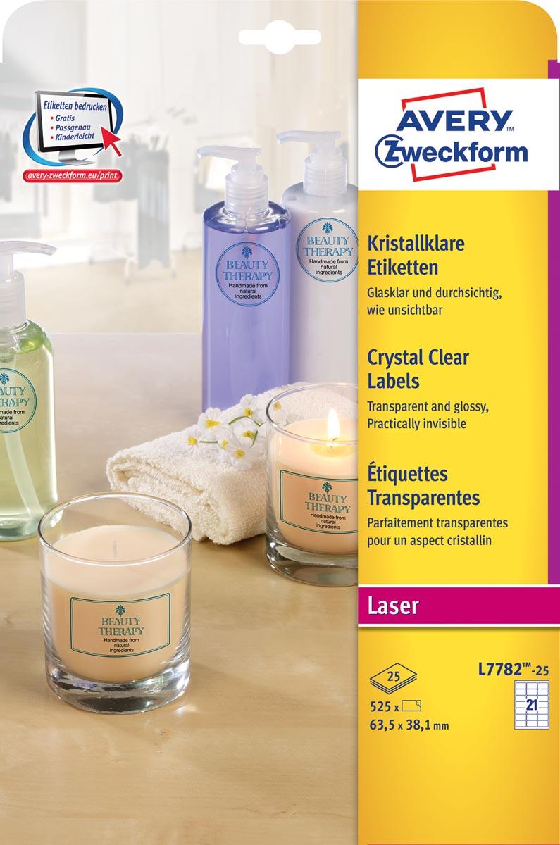 Avery transparante Crystal Clear etiketten ft 63,5 x 38,1 mm, 525 etiketten, 21 per vel
