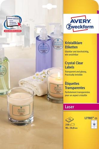 Avery transparante Crystal Clear etiketten ft 96 x 50,8 mm, 250 etiketten, 10 per vel