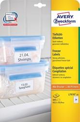 Avery diepvriesetiketten Ft 63,5 x 33,9 mm (b x h), wit, doos van 600 etiketten