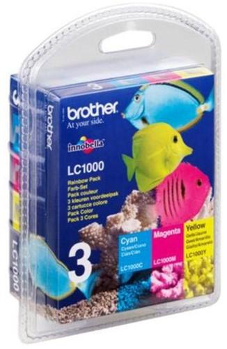 Brother inktcartridge 3 kleuren, 400 pagina's - OEM: LC-1000RBWBP