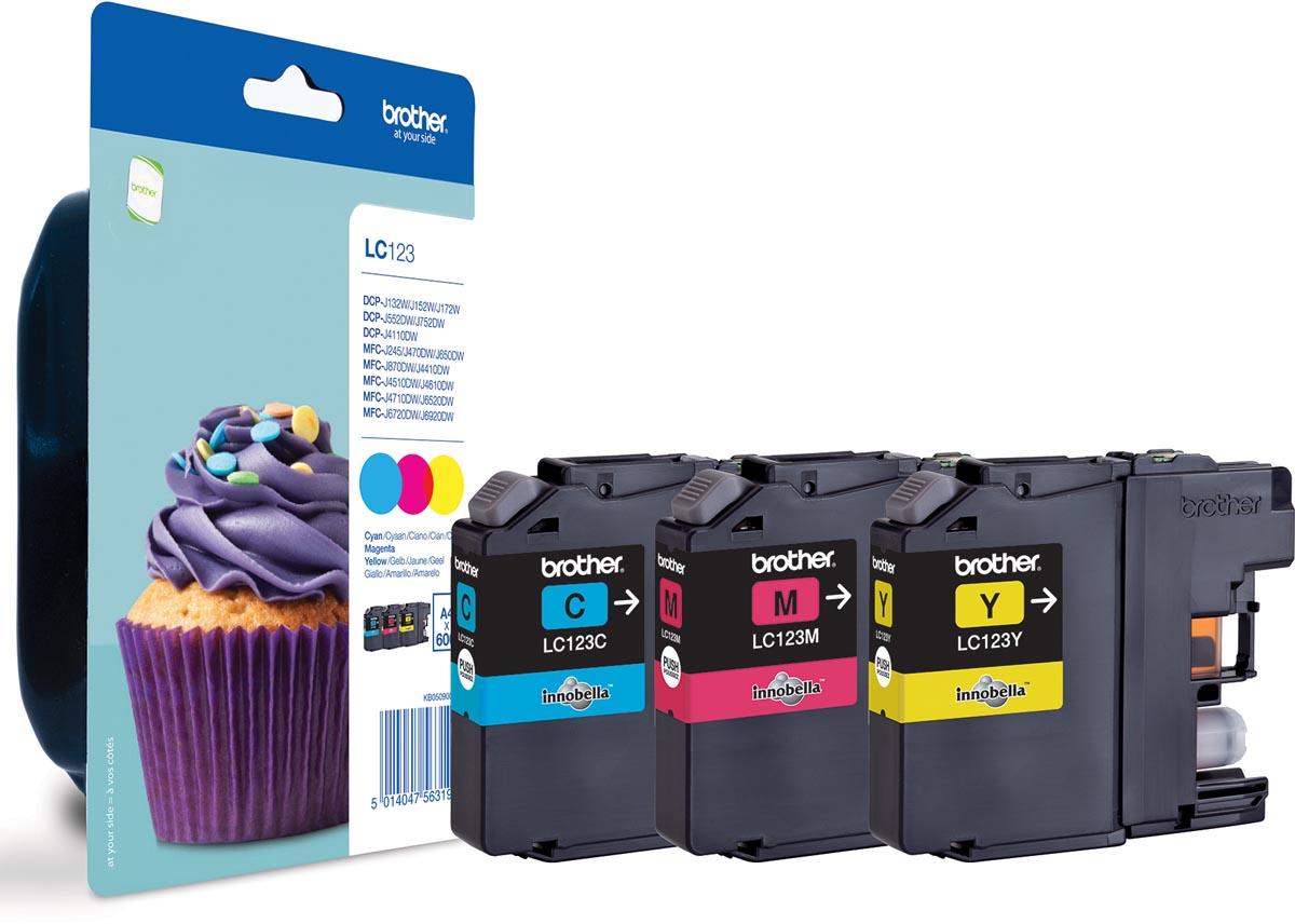 Brother inktcartridge, 600 pagina's, OEM LC-123RBWBP, 3 kleuren