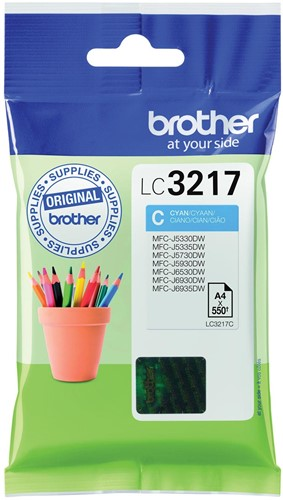 Brother inktcartridge cyaan, 550 pagina's - OEM: LC-3217C