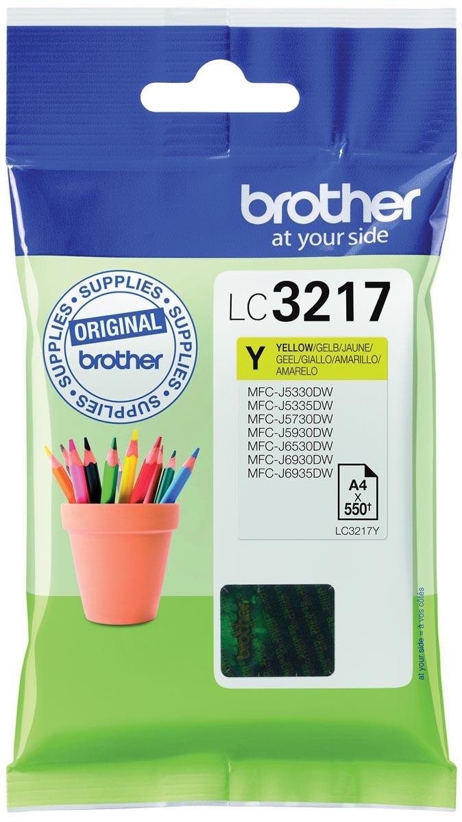 Brother inktcartridge, 550 pagina's, OEM LC-3217Y, geel