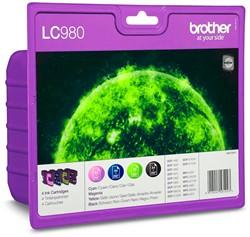 Brother inktcartridge 4 kleuren, 260 - 300 pagina's - OEM: LC-980VALBP