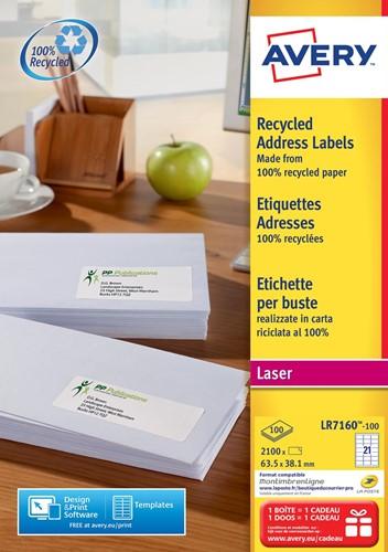 Avery gerecycleerde witte laseretiketten QuickPeel ft 63,5 x 38,1 mm (b x h), 2.100 stuks, 21 per blad