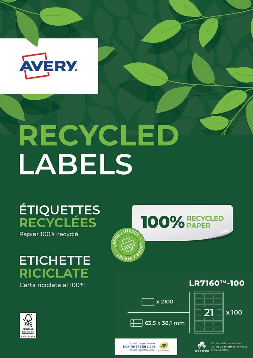 Avery gerecycleerde witte laseretiketten QuickPeel ft 63,5 x 38,1 mm (b x h), 2.100 stuks, 21 per bl