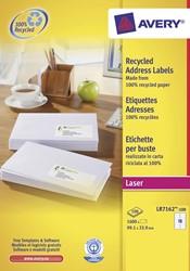 Avery gerecycleerde witte laseretiketten QuickPeel ft 99,1 x 33,9 mm (b x h), 1.600 stuks, 16 per blad