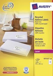 Avery gerecycleerde witte laseretiketten QuickPeel ft 99,1 x 38,1 mm (b x h), 1.400 stuks, 14 per blad
