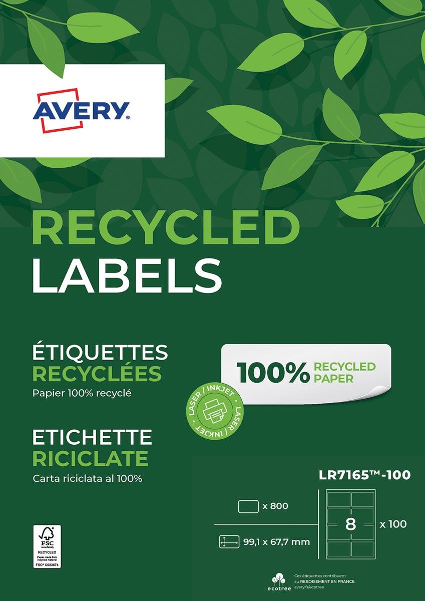 Avery gerecycleerde witte laseretiketten QuickPeel ft 99,1 x 67,7 mm (b x h), 800 stuks, 8 per blad