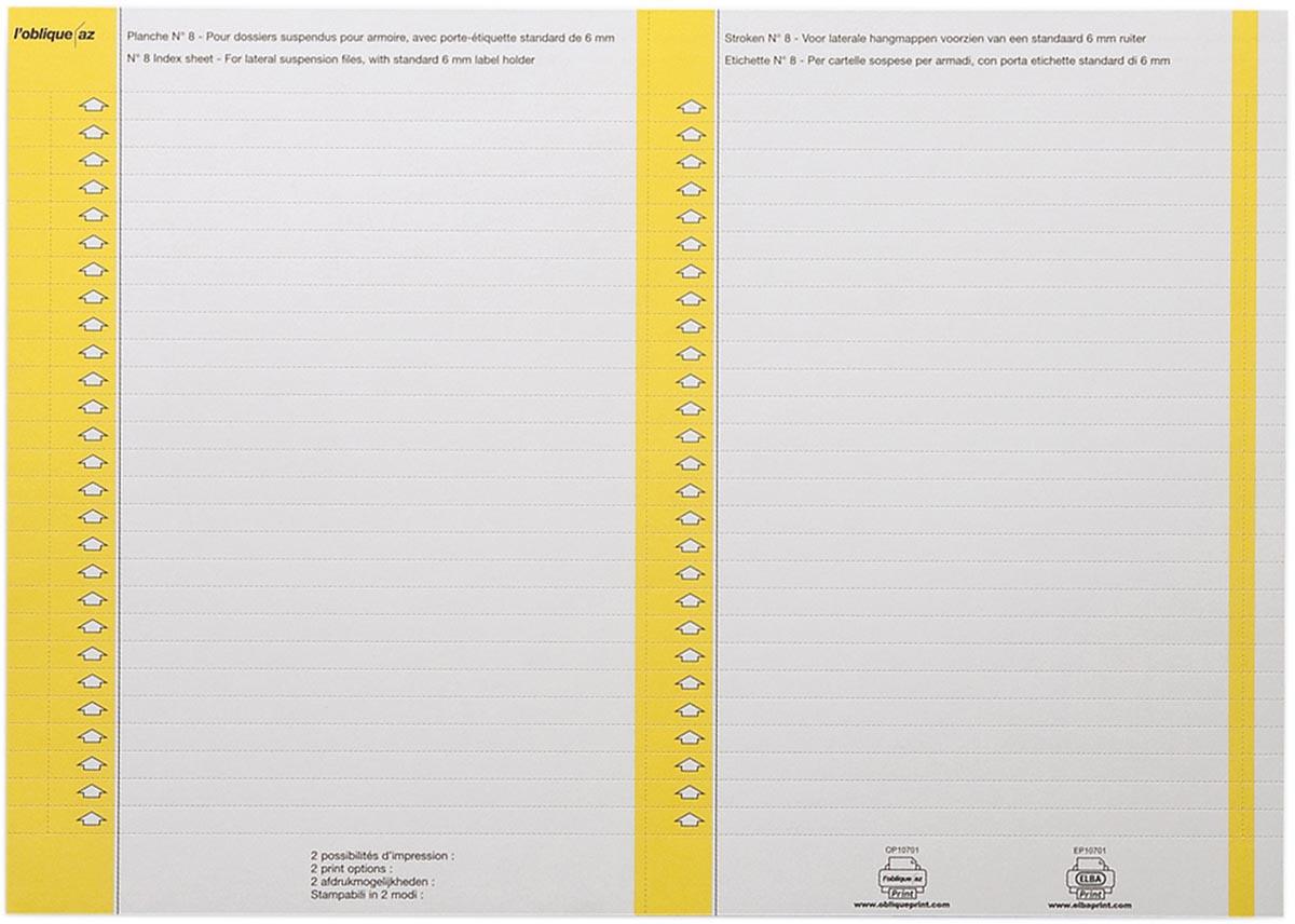 Elba ruiterstrook type 8, vel met 2x27 etiketten, pak van 270 etiketten, geel
