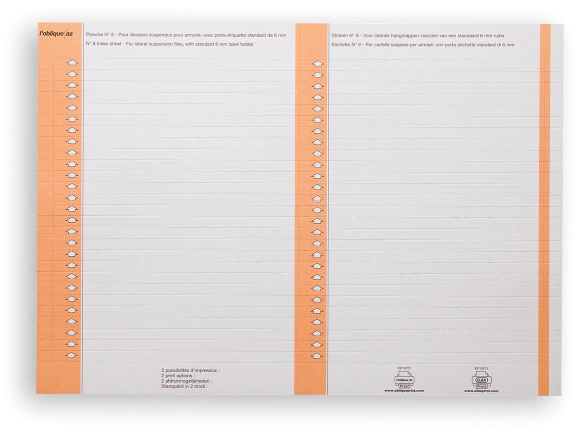 Elba ruiterstrook type 8, vel met 2x27 etiketten, pak van 270 etiketten, oranje