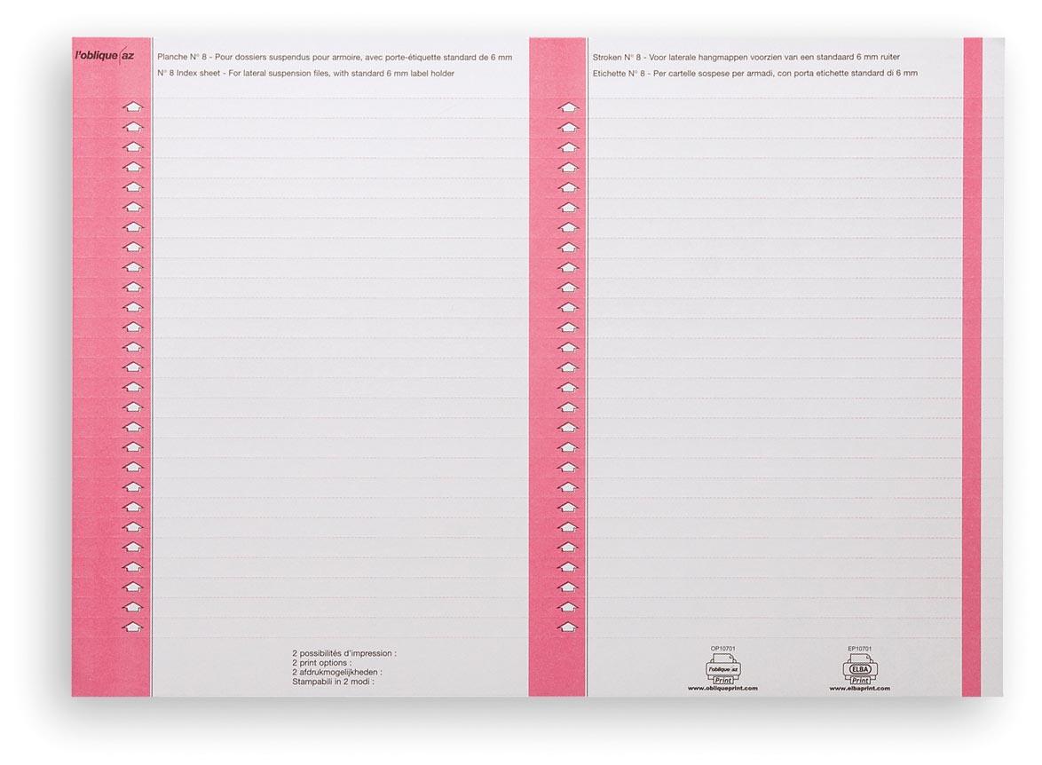 Elba ruiterstrook type 8, vel met 2x27 etiketten, pak van 270 etiketten, roze