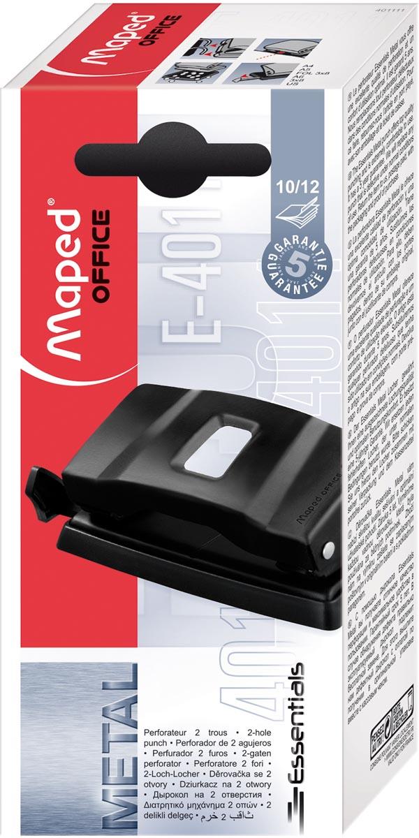 Maped perforator Essentials, 2 gaats, 10 tot 12 blad, zwart