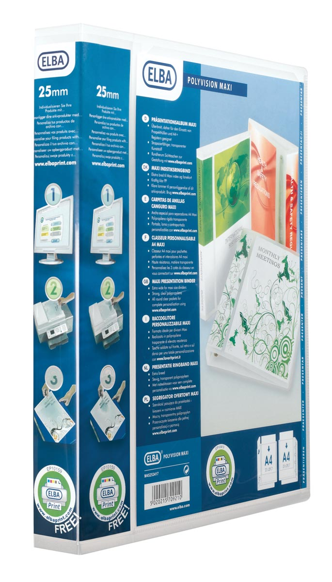 Elba personaliseerbare ringmap Polyvision Maxi, rug van 4 cm