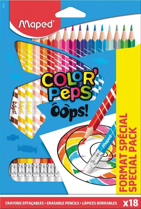 Maped OOPS kleurpotloden uitwisbaar, doos 18 stuks