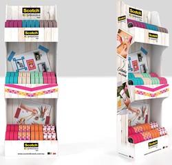Scotch Expressions glitter tape en washi tape, display met 72 stuks in geassorteerde kleuren