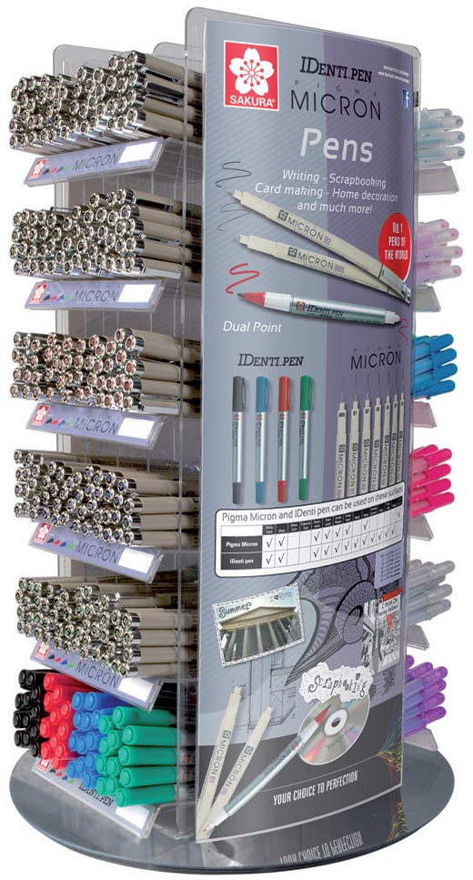 Sakura Gelly Roll, Pigma Micron en Identi Pen, modulair display van 576 stuks