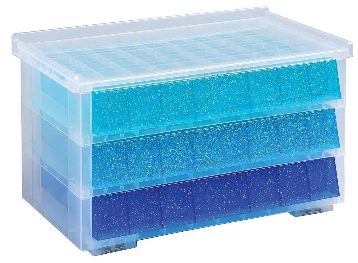 Really useful box 3 x 0,9 liter, juwelendoos, transparant helblauw