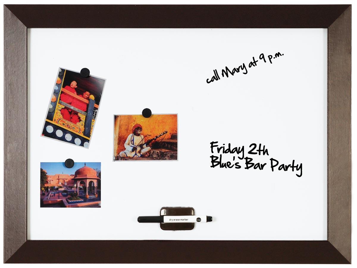 Afbeelding van Bi-Office Kamashi magnetisch whiteboard met bruin kader