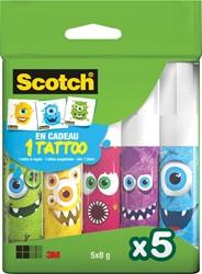 Scotch lijmstift Monster permanent, doos van 5 x 8 g, 2 clipstrips van 12 dozen per strip