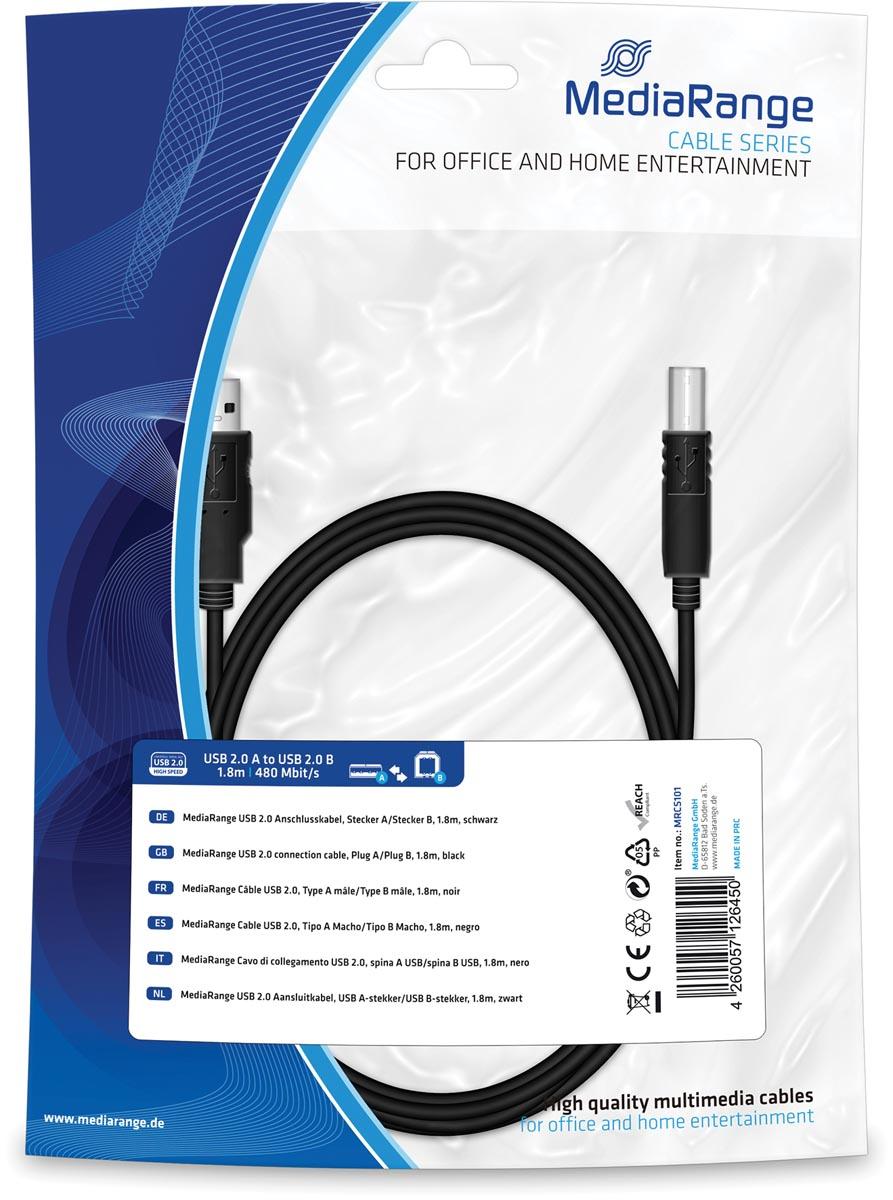 MediaRange USB Kabel MediaRange A -> B St-St 1.80m zw Blister (MRCS101)