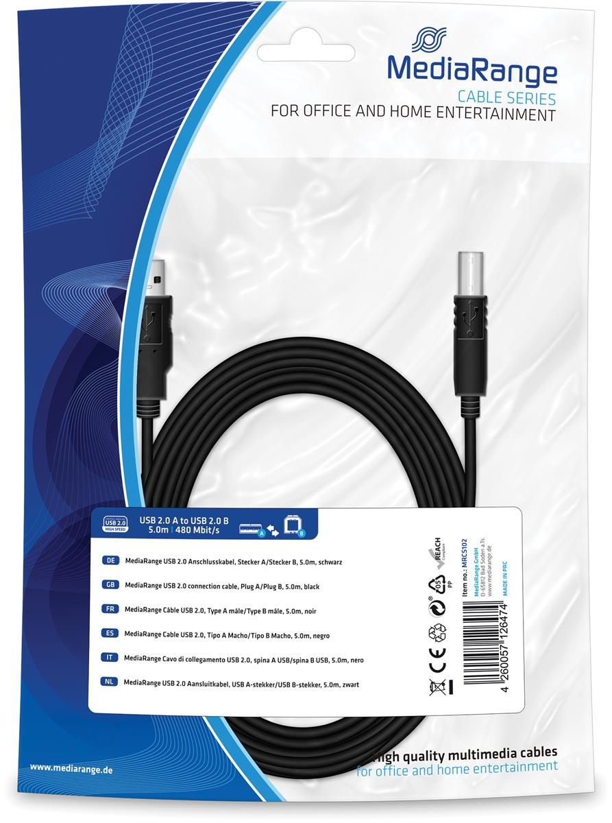 MediaRange USB Kabel MediaRange A -> B St-St 5.00m zw Blister (MRCS102)