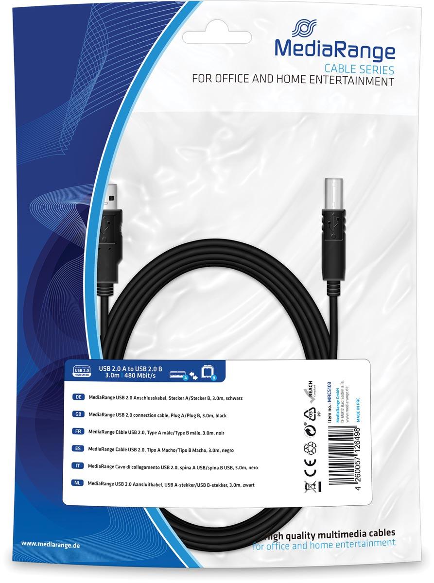 MediaRange USB Kabel MediaRange A -> B St-St 3.00m zw Blister (MRCS103)