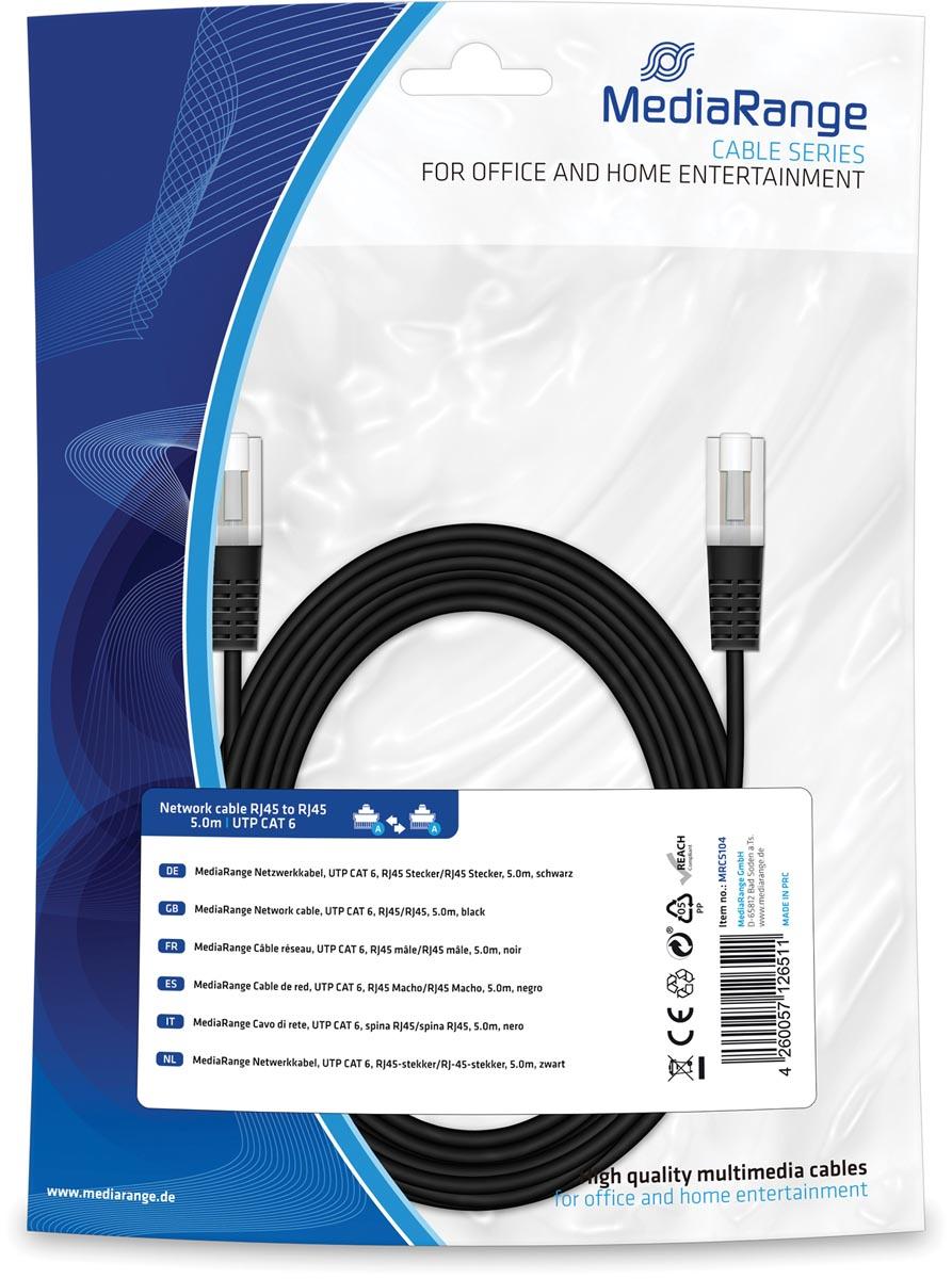 Netwerkkabel, UTP CAT 6, RJ45-stekker/RJ45-stekker, 5.0m