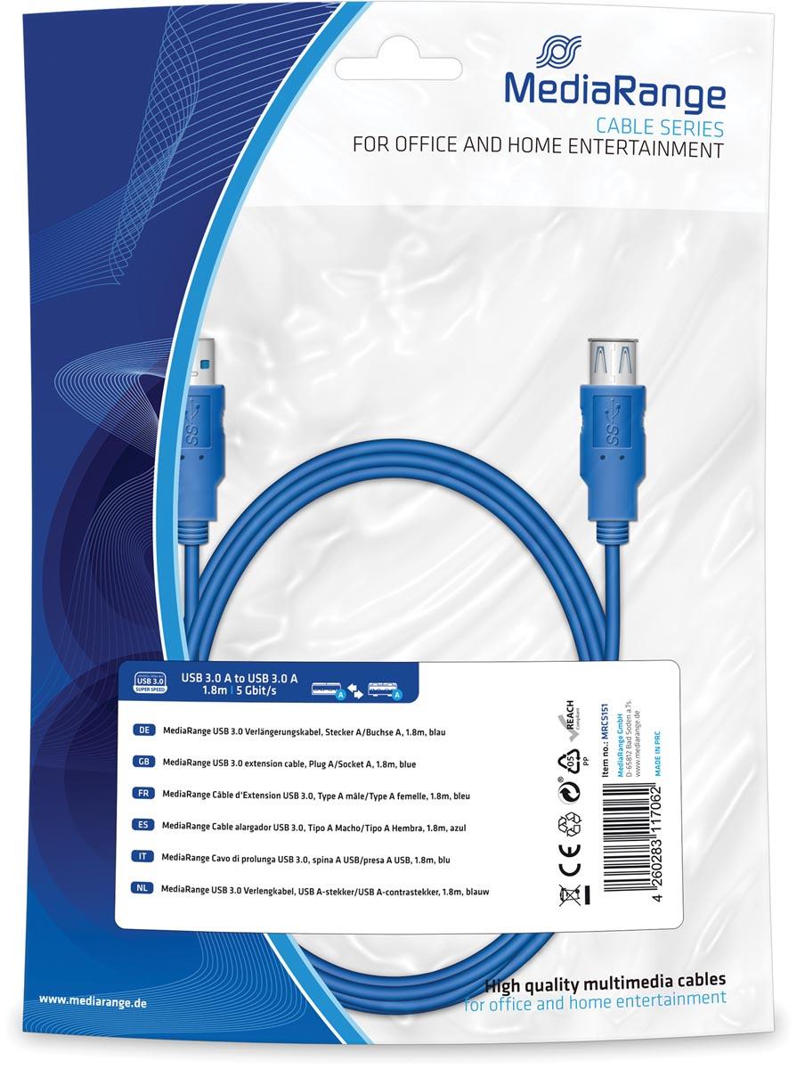 MediaRange USB Kabel MediaRange A -> A St-St 1.80m blauw verleng3.0 (MRCS151)