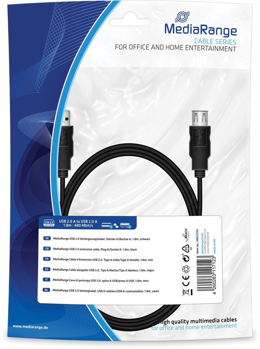 USB 2.0 Verlengkabel, USB A-stekker-USB A-contrastekker, 1.8m