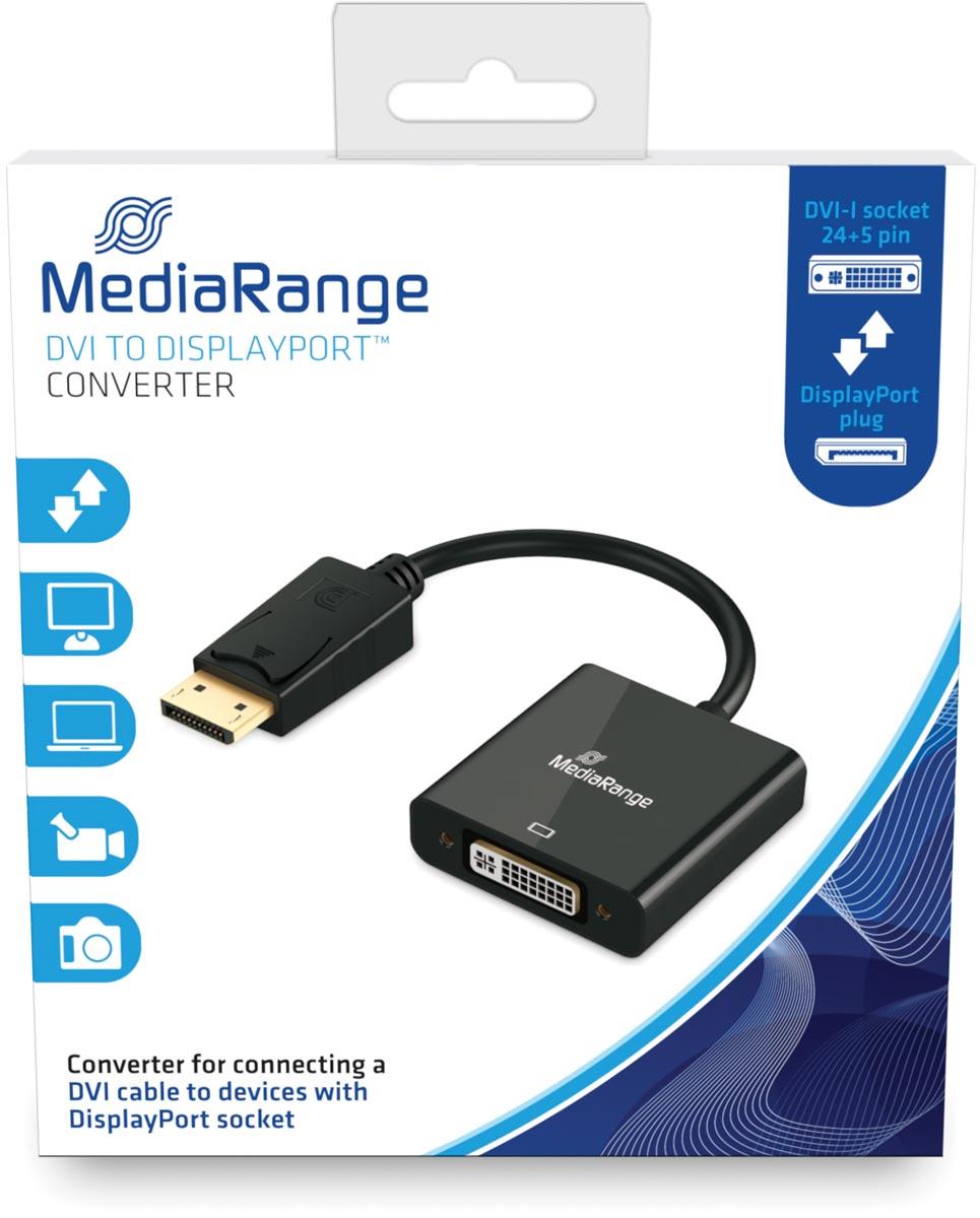 DVI naar DisplayPort Converter, vergulde contacten, DVI-I-contrastekker (24+5-polig)/DP-stekker, 15c