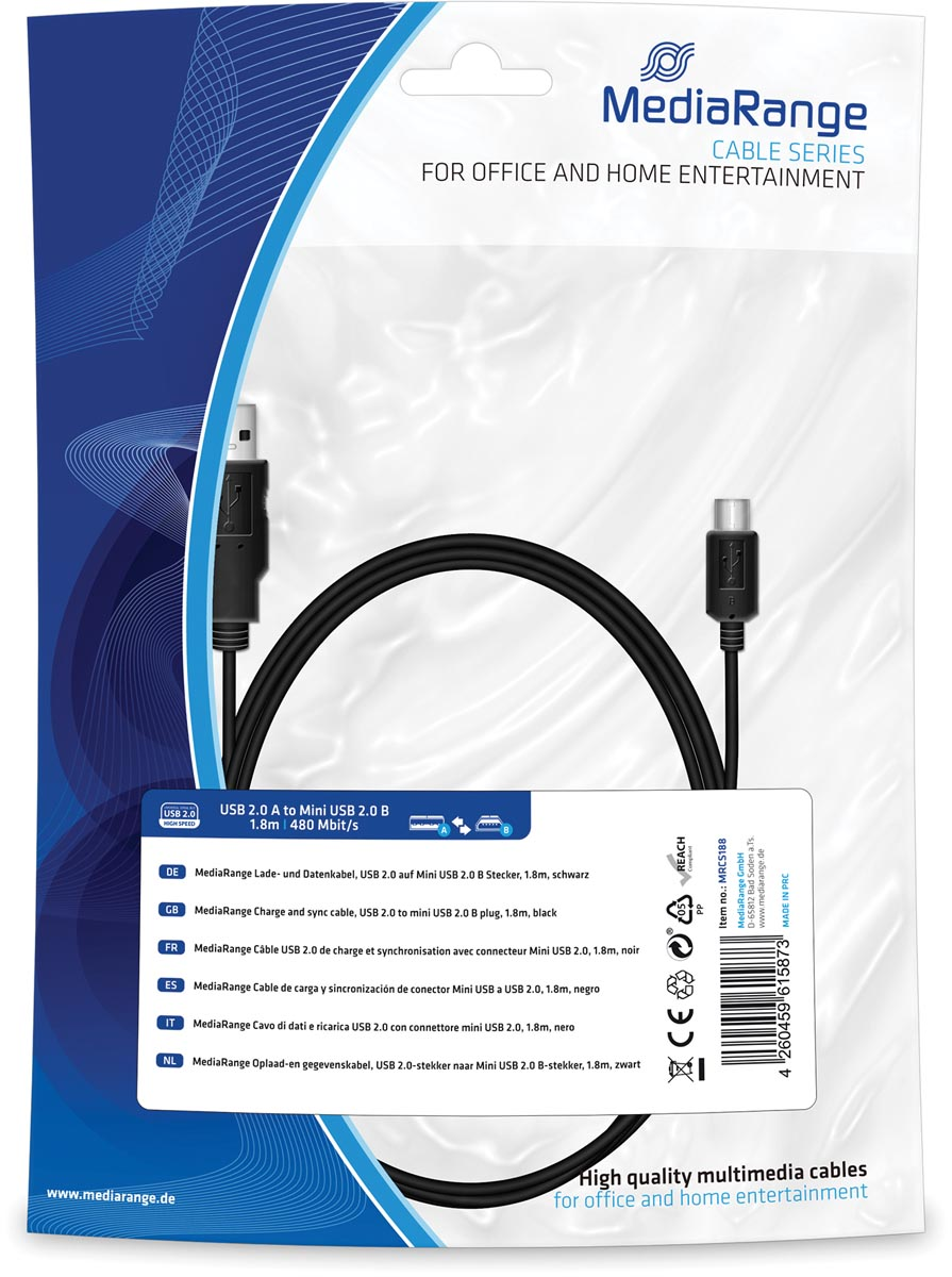 Oplaad- en gegevenskabel, USB 2.0-stekker naar Mini USB2.0 B-stekker, 1.8m